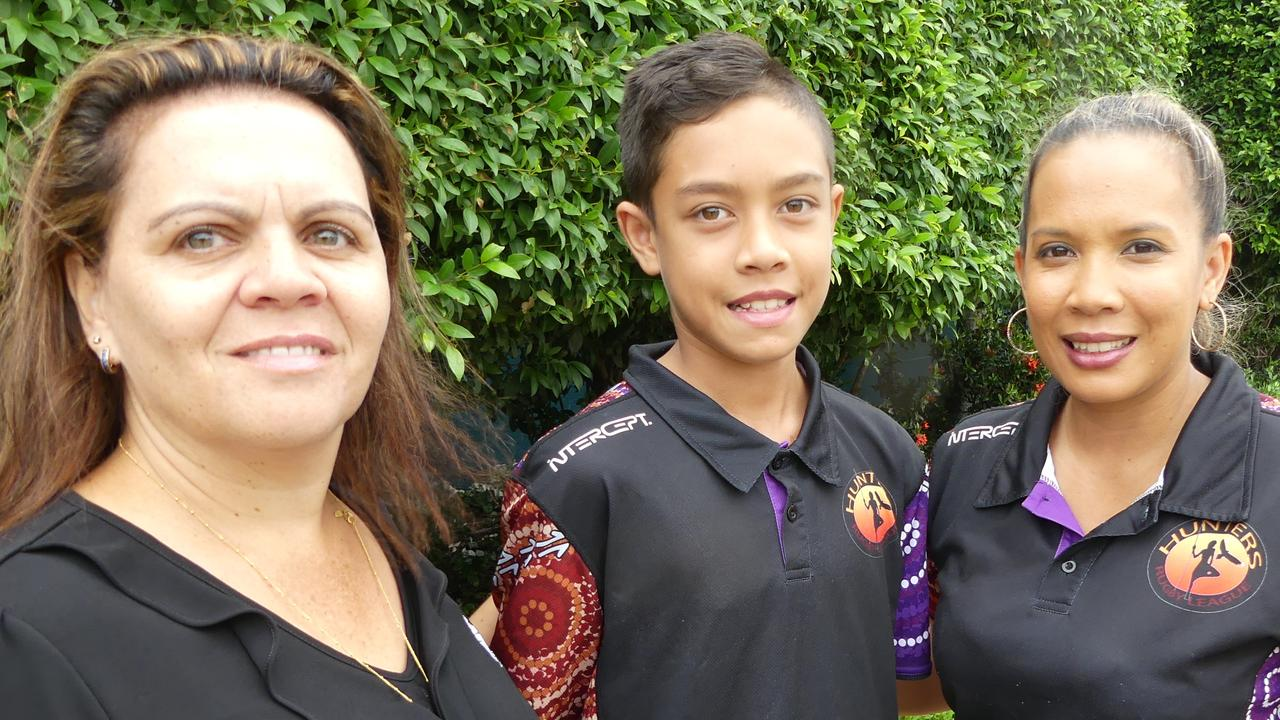 Mercy College Indigenous Liaison Officer Melissa Russell, Year seven student and Hunters representative Traejorn Cora and Hunters manager Katherine Cora. Picture: Contributed.