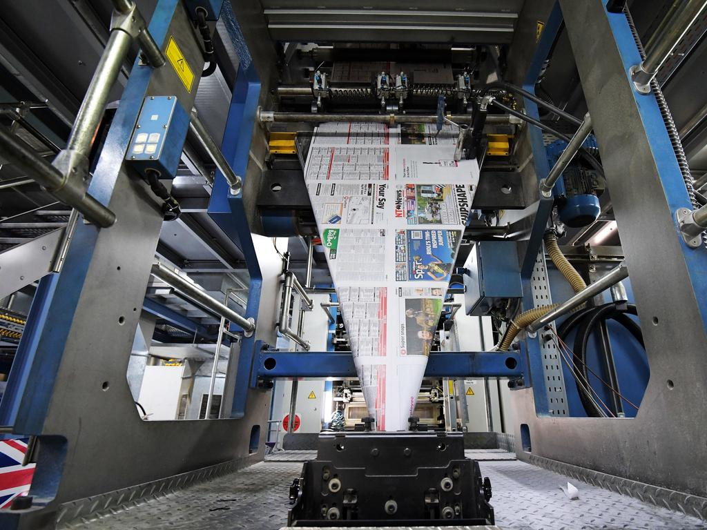 Inside a printer room where newspapers are printed. Picture: Keri Megelus