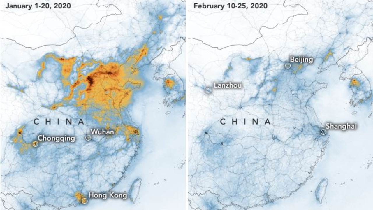 Air pollution has decreased in China. Picture: NASA