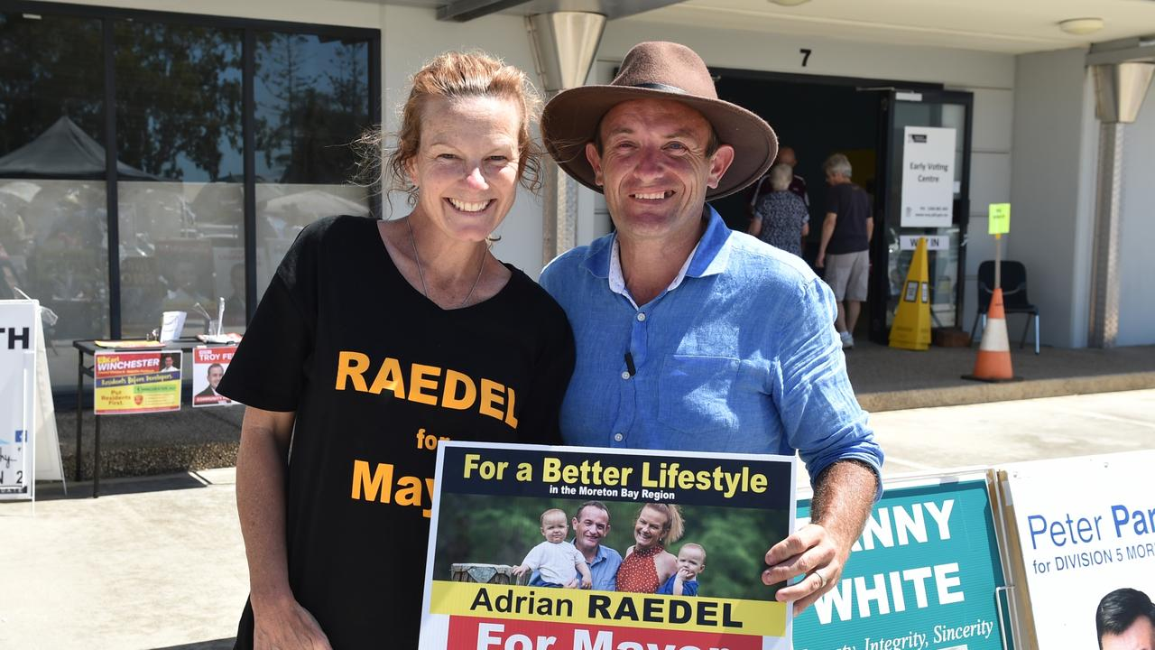 Mayor candidate Adrian Raedel with his wife Kerri at the early voting centre at Deception Bay on March 20. Picture: David Alexander