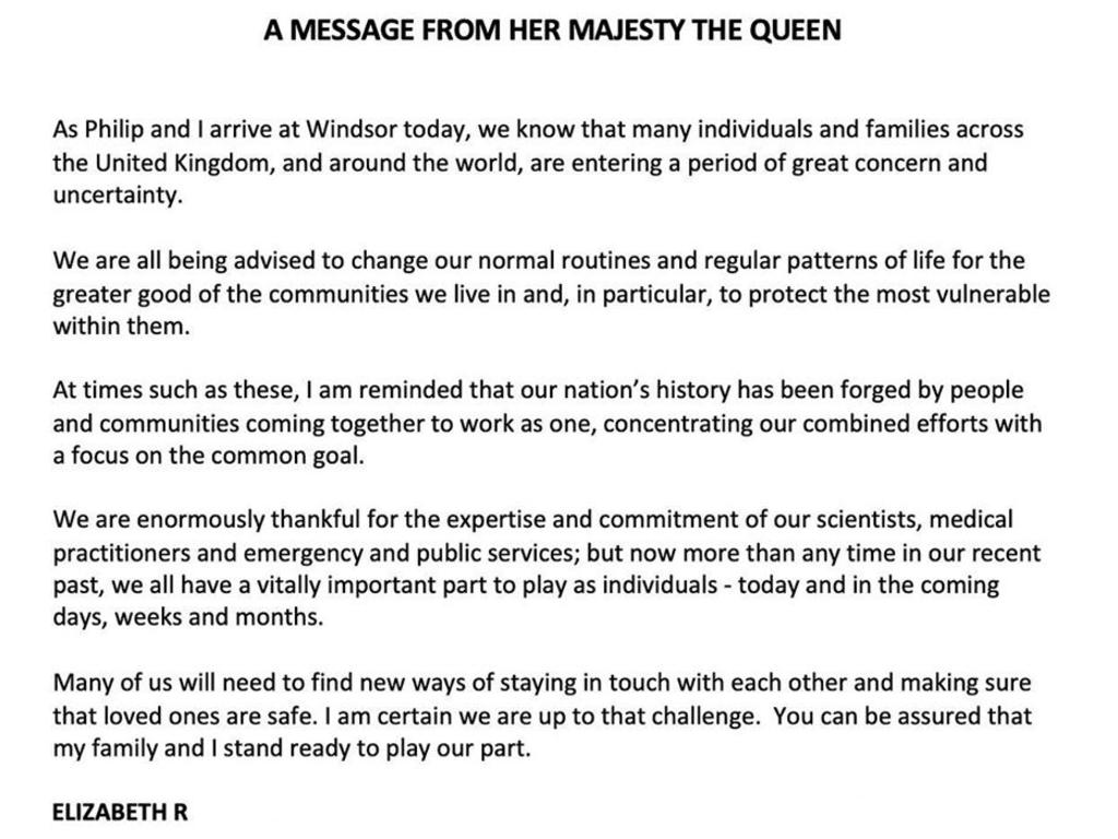 The Queen's statement.