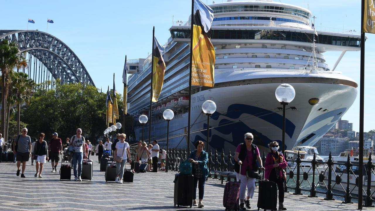 Cruise ship passengers disembark from the Princess Cruises owned Ruby Princess at Circular Quay in Sydney on Thursday, March 19. Picture: Dean Lewins/AAP