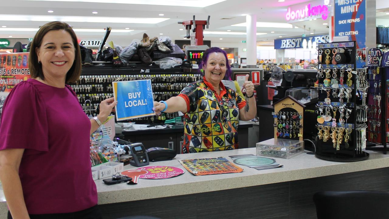 Practicing good social distancing! Member for Nanango, Deb Frecklington visited small business Mister Minit to help promote 'Buy Local'. (Photo: Contributed)