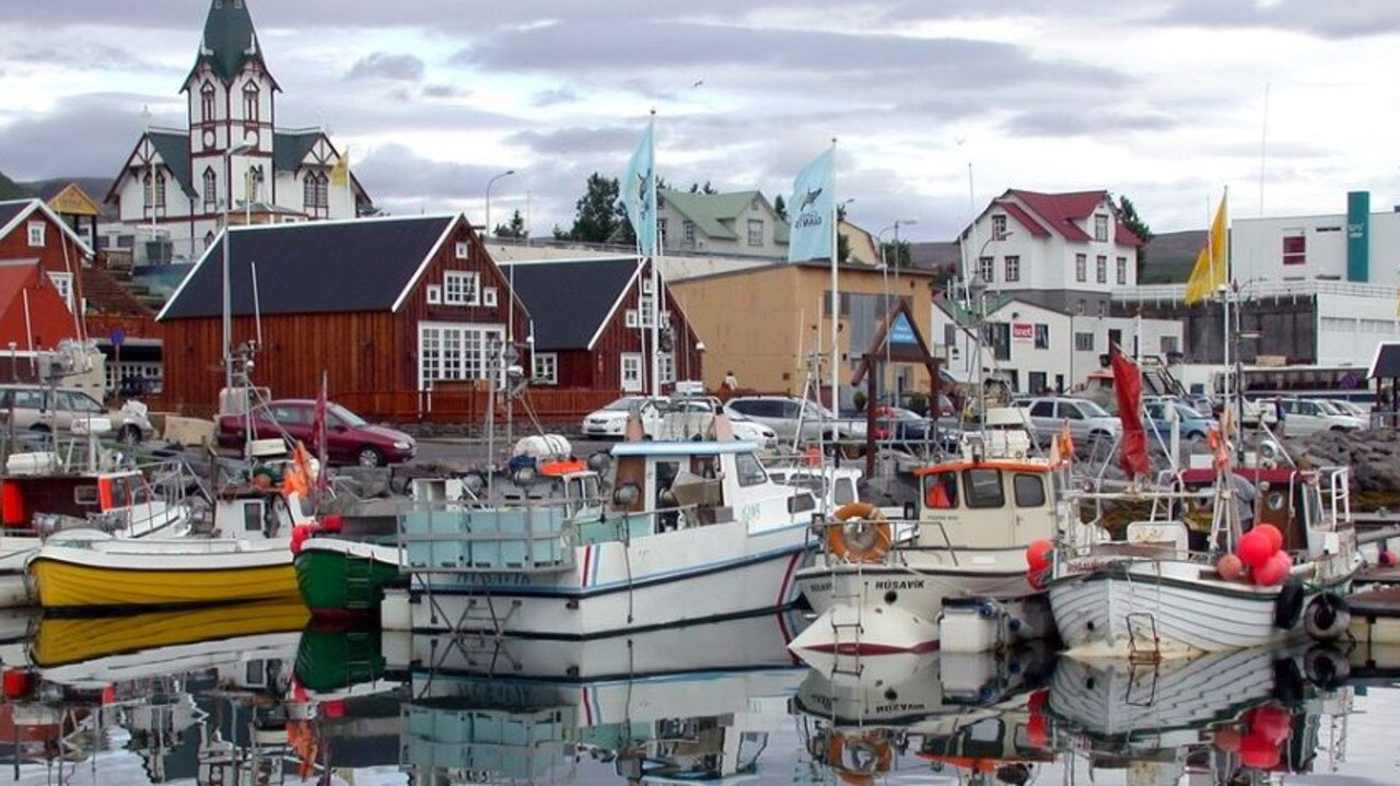The 36-year-old Australian man was a tourist in Húsavík (above) known as the whale watching capital of Iceland.