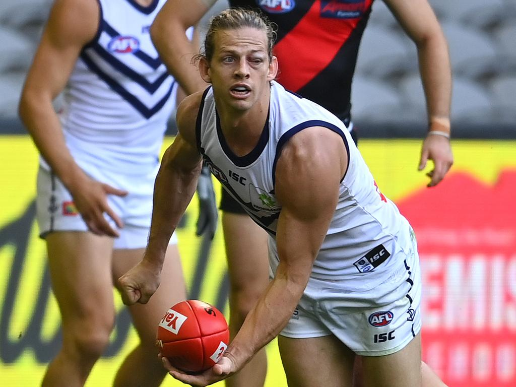 Nat Fyfe competing with one open eye