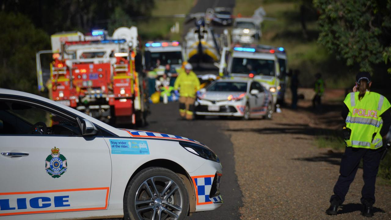 AT THE SCENE: The fatal motorcycle collision in Wattle Camp resulted in the death of a man in this 70s on Tuesday and marked the first road death in the region for 2020.