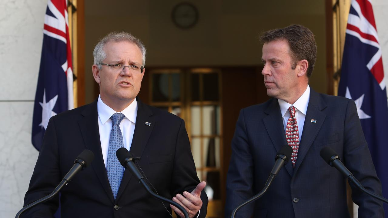PM Scott Morrison and Minister for Education Dan Tehan. Picture: Kym Smith