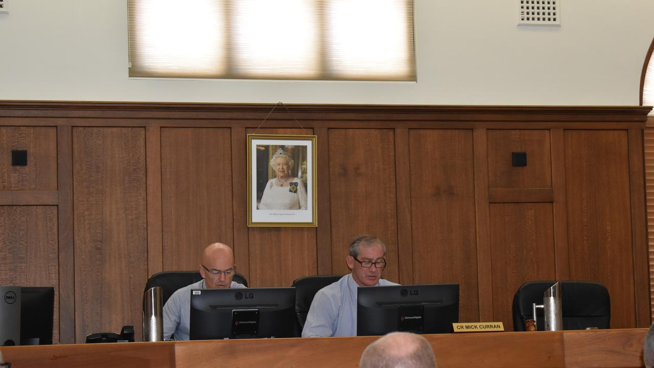CEO Bernard Smith and Mayor Mick Curran during the Gympie Regional Council ordinary meeting on March 4, 2020.
