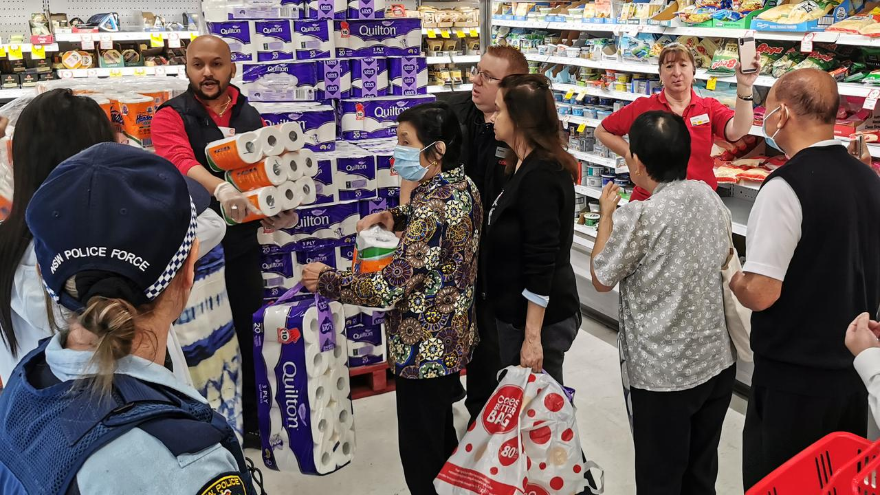 Police have been called in to help bring some order to Australia's supermarkets. Picture: AAP Image/James Gourley