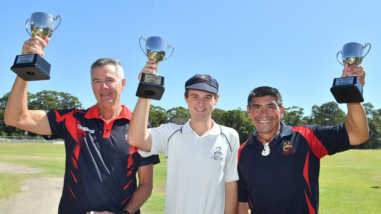 Maroochydore Cricket Club are the champions of 2020 in the 2-day, 1-day and T20 competitions. Captain Blaine Schloss with the 2-day trophy. Coaches Wayne Anderson and Graeme Stewart with captain Blaine Schloss. Photo: John McCutcheon / Sunshine Coast Daily
