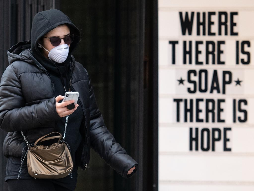 A sign in the UK where London has been a hotspot for the disease. Picture: Leon Neal/Getty Images.