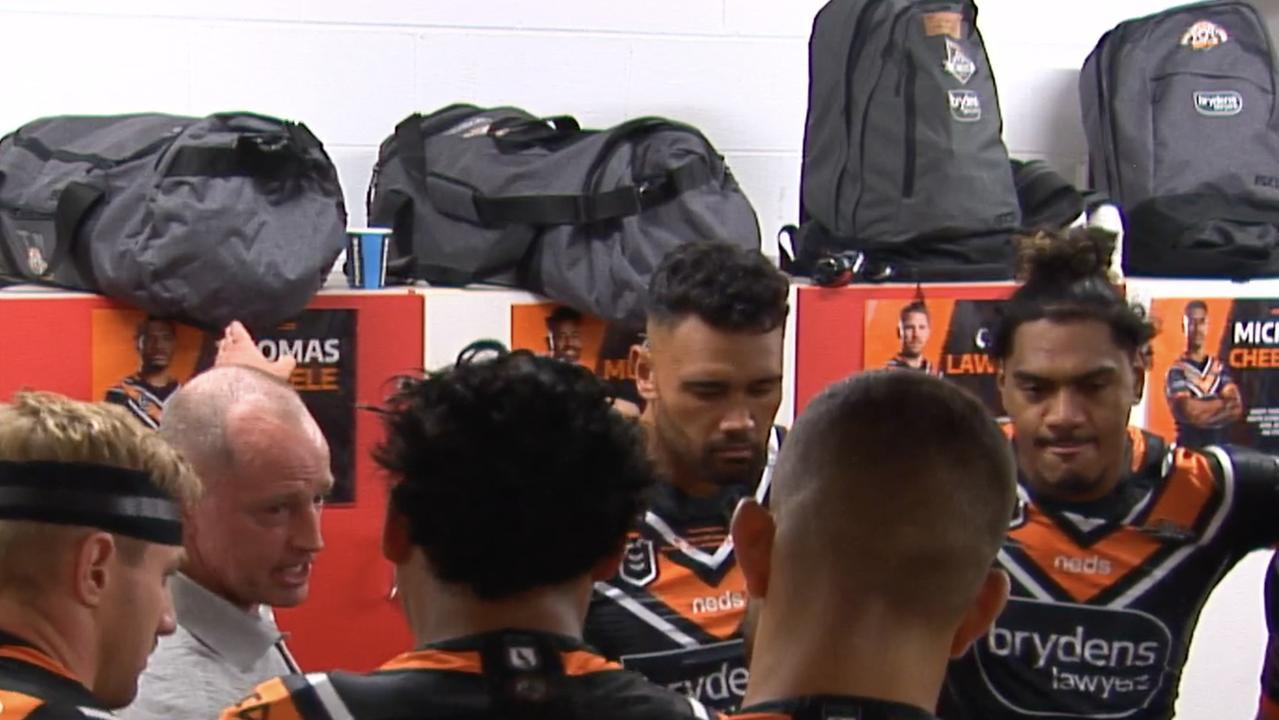 Tigers coach Michael Maguire delivers an emotional pre-game speech