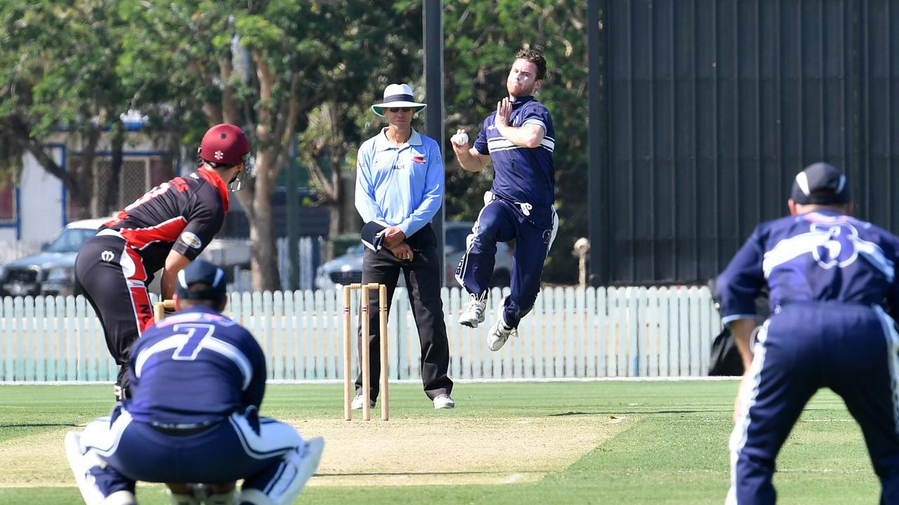 Brothers' Matthew Wicks bowling to Norths batsman Peter Shepherd.