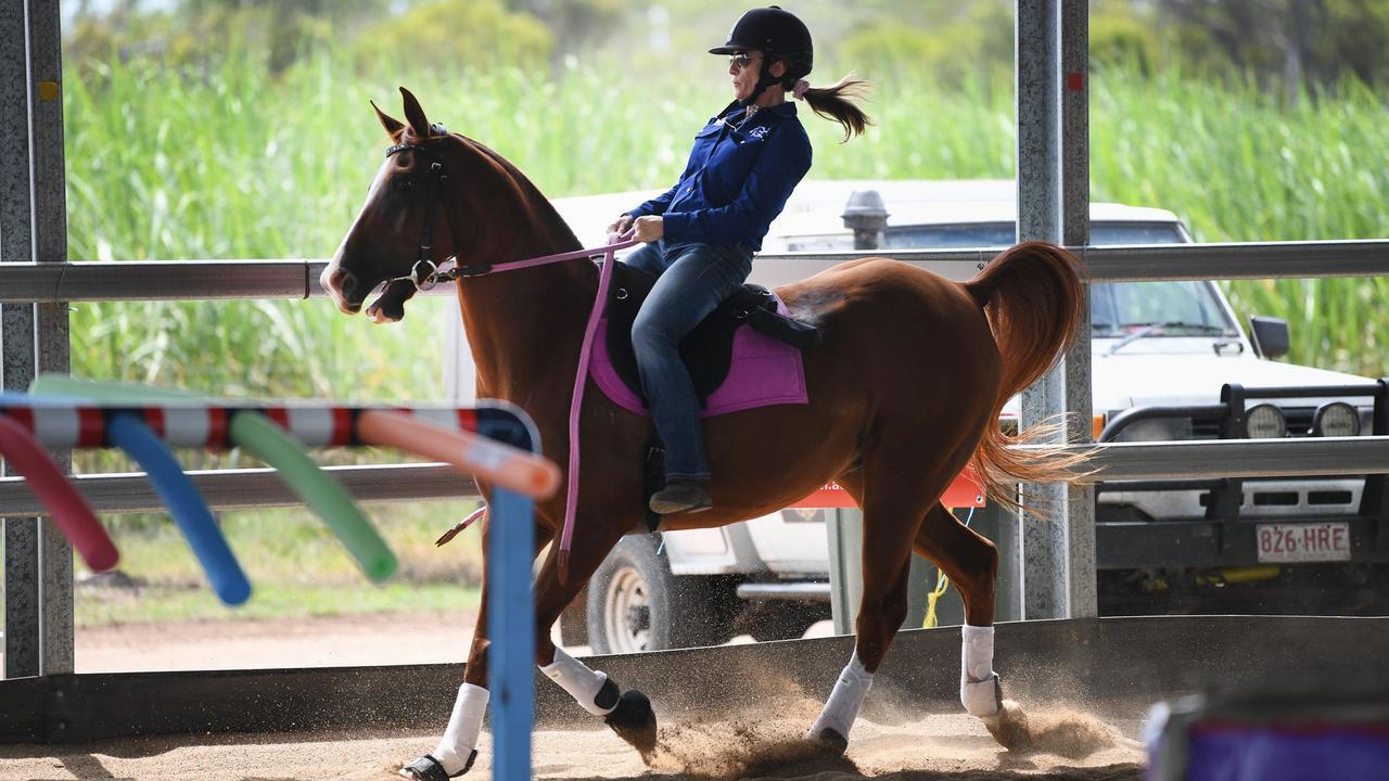 Extreme Cowboy Racing - Jen Nolen pulling the brakes on Falcon. Photo: Cody Fox
