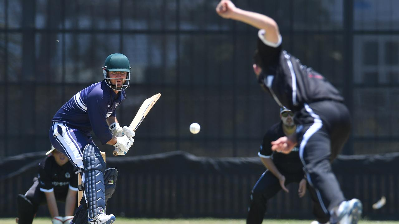 Brothers batsman Michael Dunn faces a delivery from Magpies' Todd Dixon.