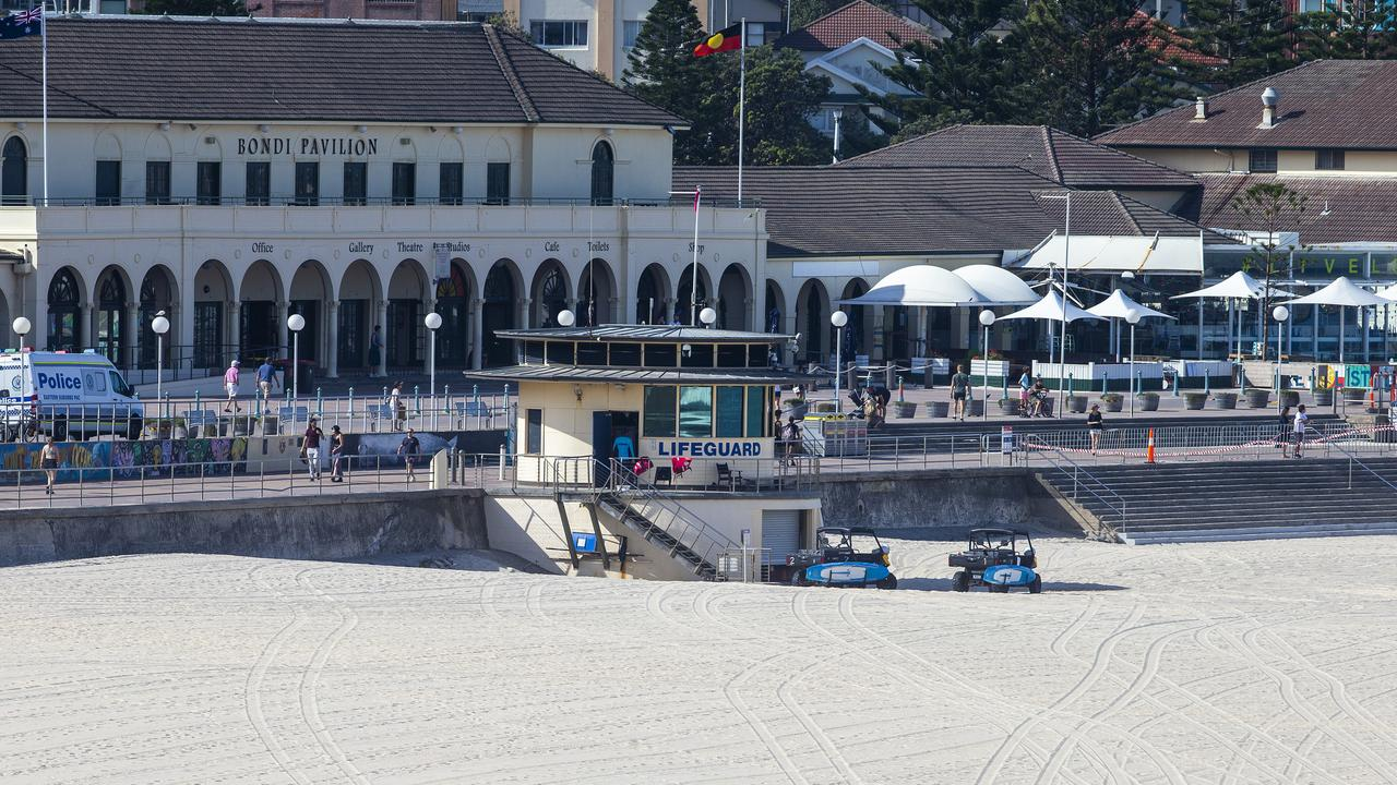 Sydney's famous Bondi Beach closed down after people failed to adhere to social distancing measures and packed the sand. Picture: Getty Images