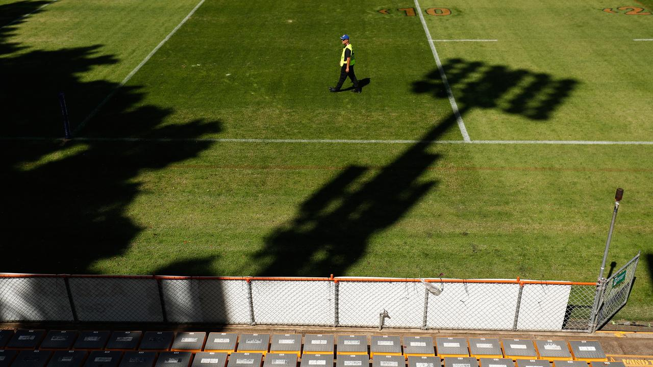 Empty stadiums, like Leichhardt Oval hosting Wests Tigers v Newcastle Knights, have put a huge dent in NRL finances. Picture: Brett Costello