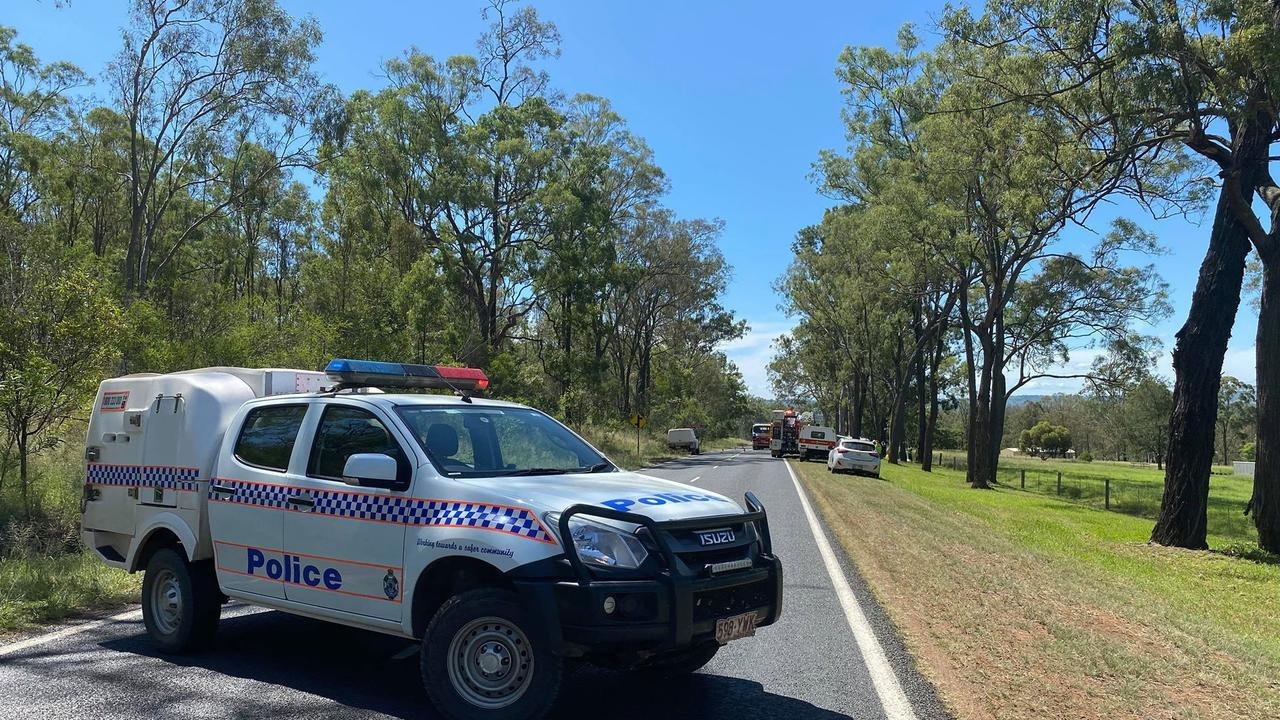 Roads are blocked off in both directions after a singular vehicle crash just outside of Murgon. Photo: Kate McCormack