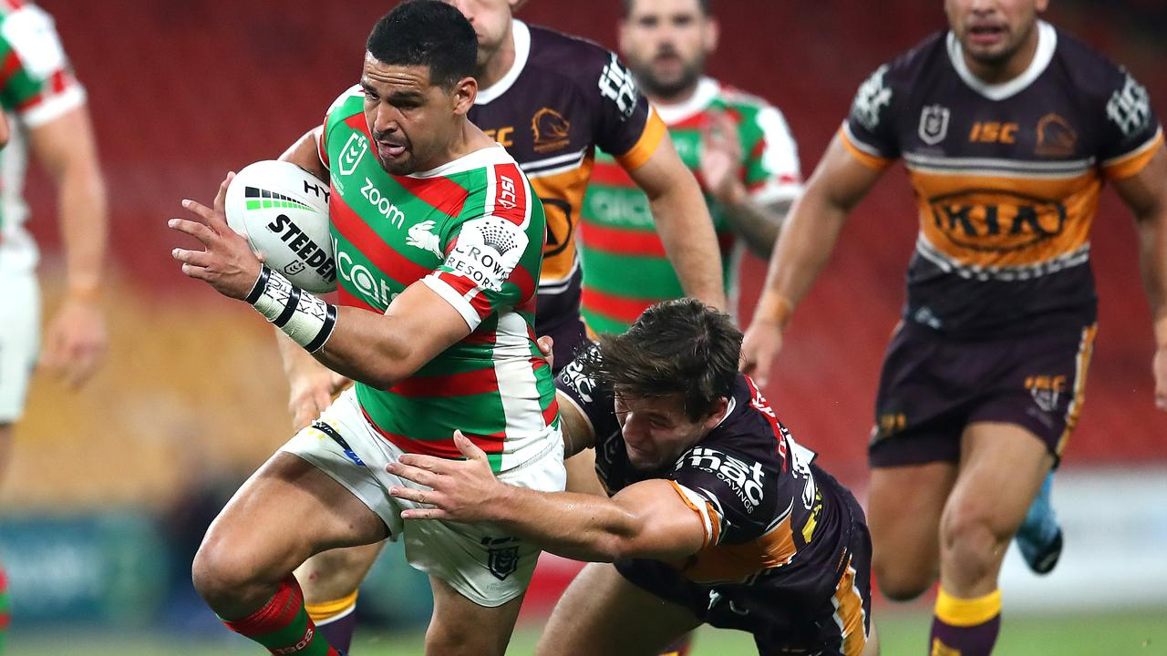 Cody Walker of the Rabbitohs makes a run during the round 2 NRL against the Broncos at Suncorp Stadium. Picture: Getty Images