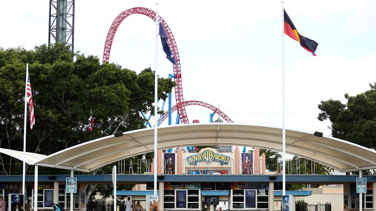 Movie World will temporarily close as of tonight along with Sea World, Wet n Wild and Top Golf on the Gold Coast. (Photo by Chris Hyde/Getty Images)
