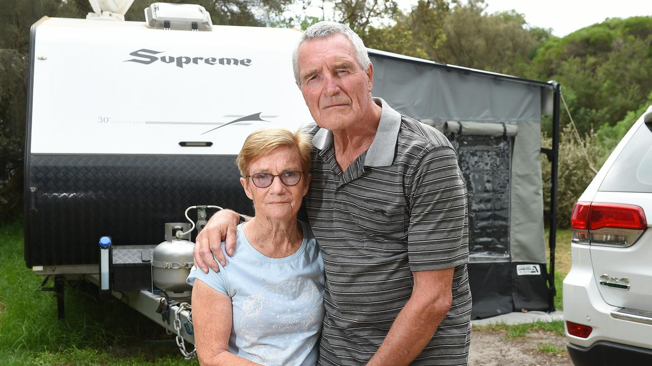 Lorraine and Ron Hulme have been told they need to leave the Rosebud Forshore Camping Reserve. Picture: Josie Hayden