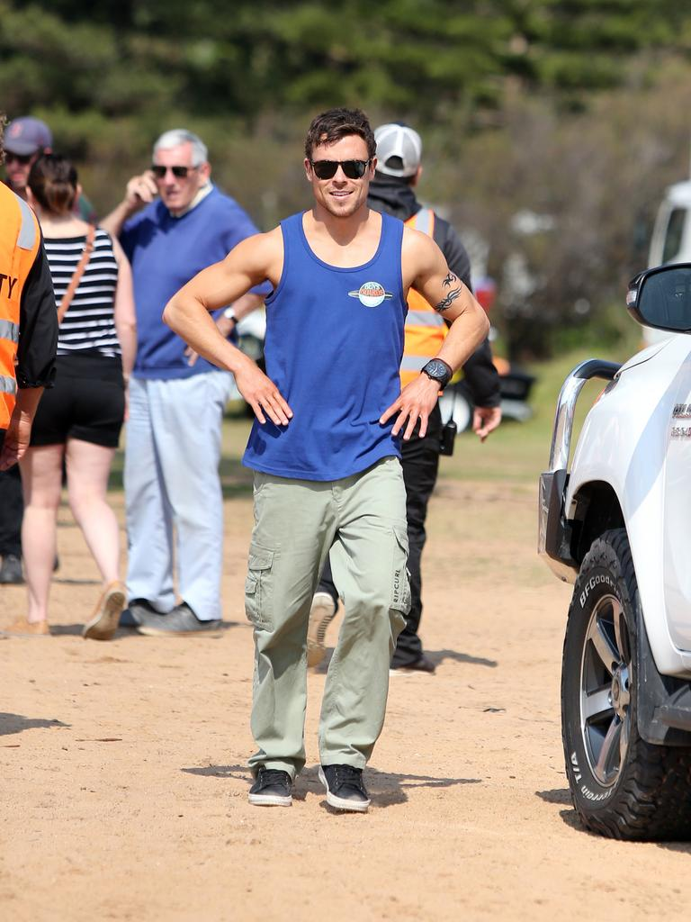 Actor Patrick O'Connor pictured during filming of Home And Away at Palm Beach in Sydney. Picture: Richard