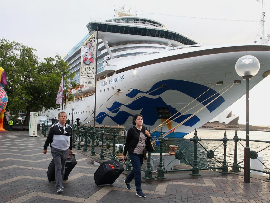 Passengers disembark from the Ruby Princess in Sydney. Picture: Getty