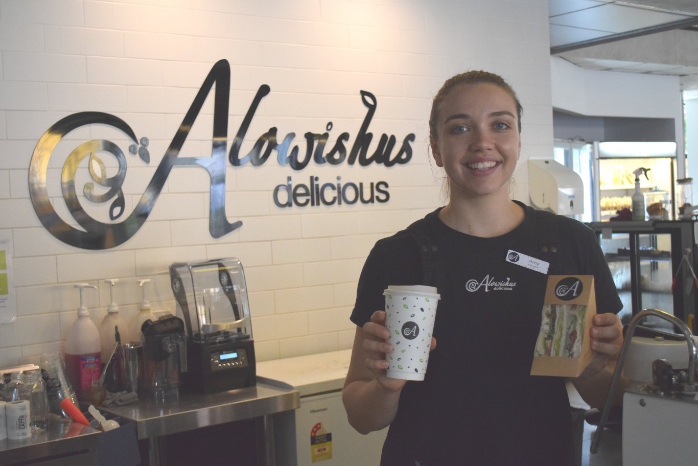 Manager of Alowishus Delicious in Maryborough, Amy Baldwin will continue to serve takeaway items through the non-essential services shutdown.