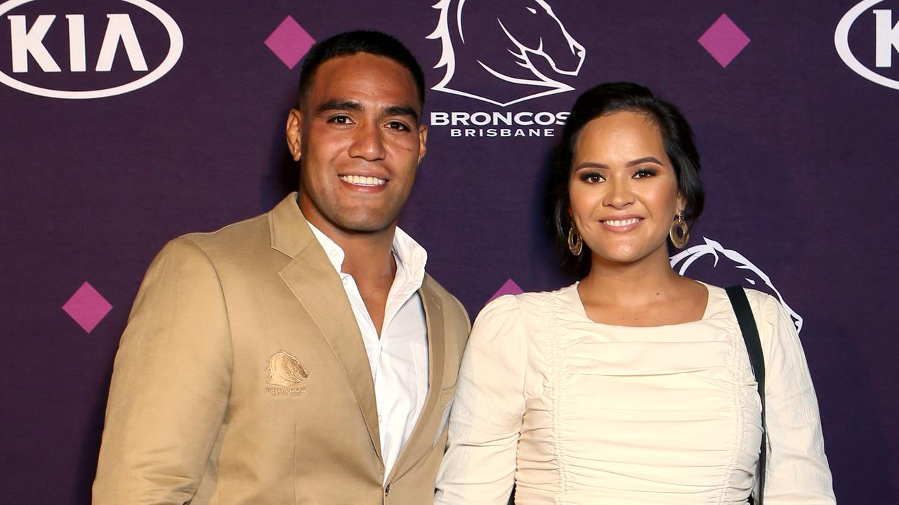 Joe Ofahengaue with his pregnant partner Sofi Leota at this year's Broncos season launch. Picture: Steve Pohlner.
