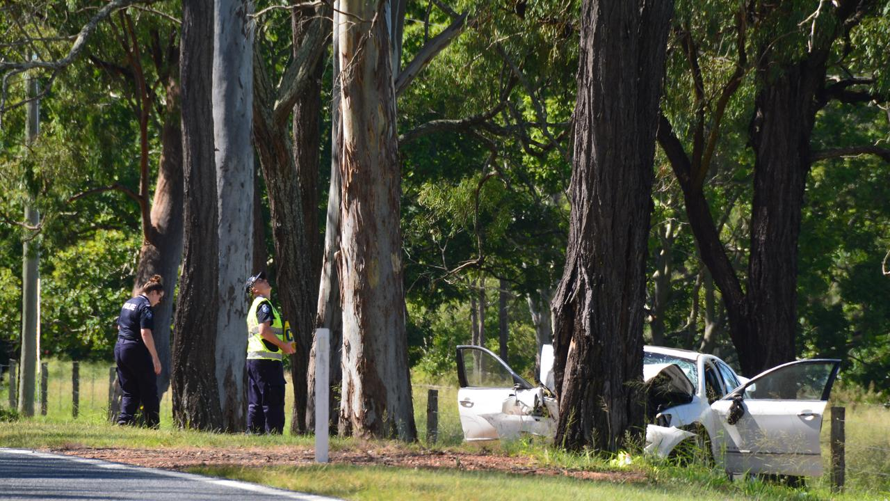 At the scene of the tragic double fatality just outside Murgon along the Bunya Highway.