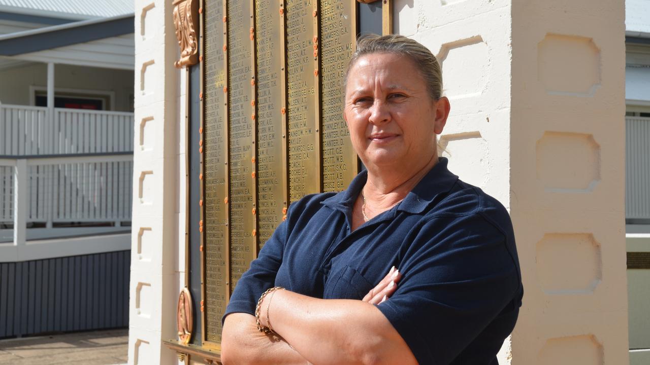 LEST WE FORGET: Gayndah's new RSL Sub-Branch president Vicki Maddern at the Gayndah Cenotaph. Picture: Sam Turner