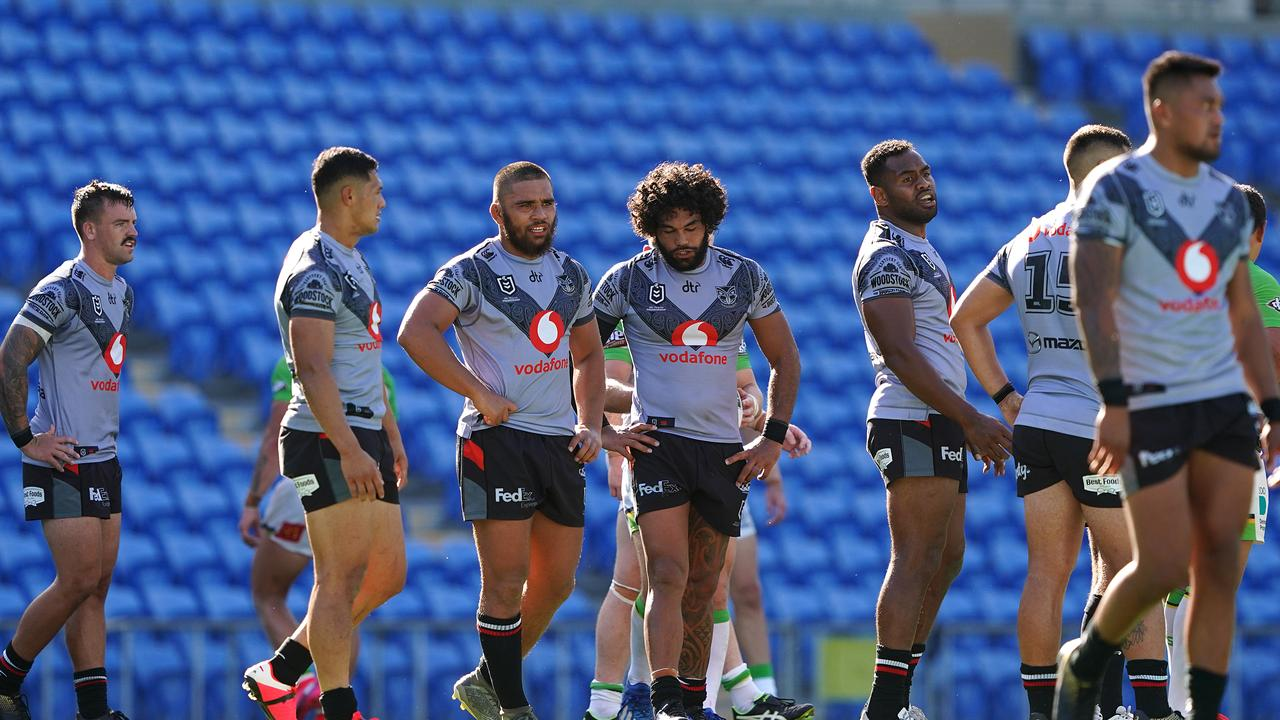 Warriors players look on following a Raiders try during their match at Cbus Super Stadium io the Gold Coast. Picture: Dave Hunt/AAP
