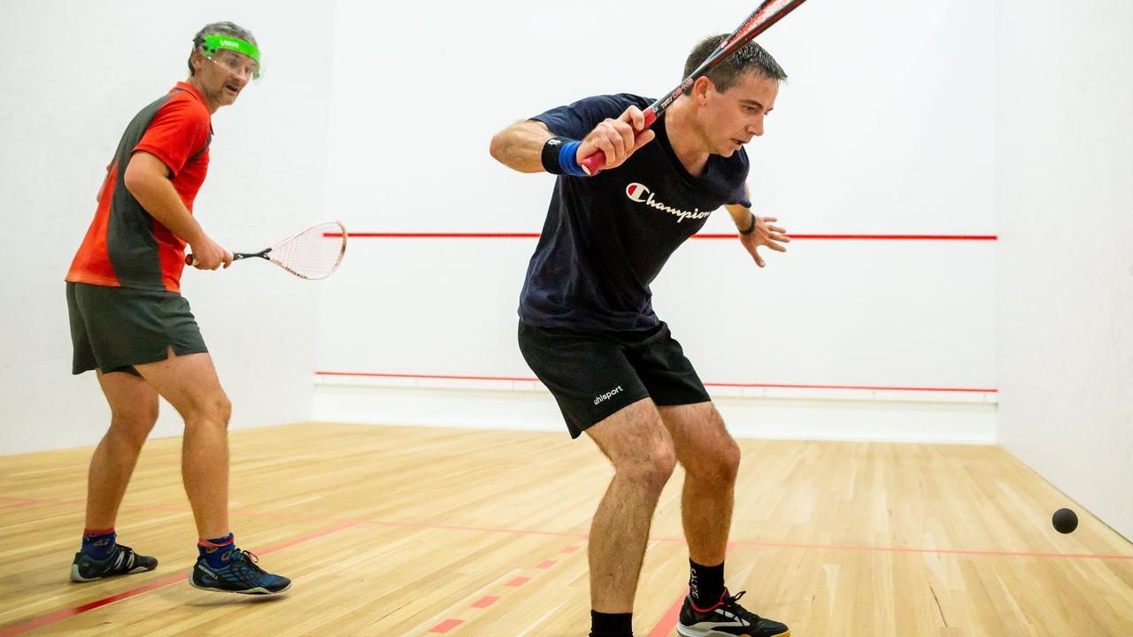 Victory Squash A-grade player Luke Kidd in action on the court. Owner Matt Robinson hope they can have an individual game brought in but will not do so until they are given confirmation to proceed.