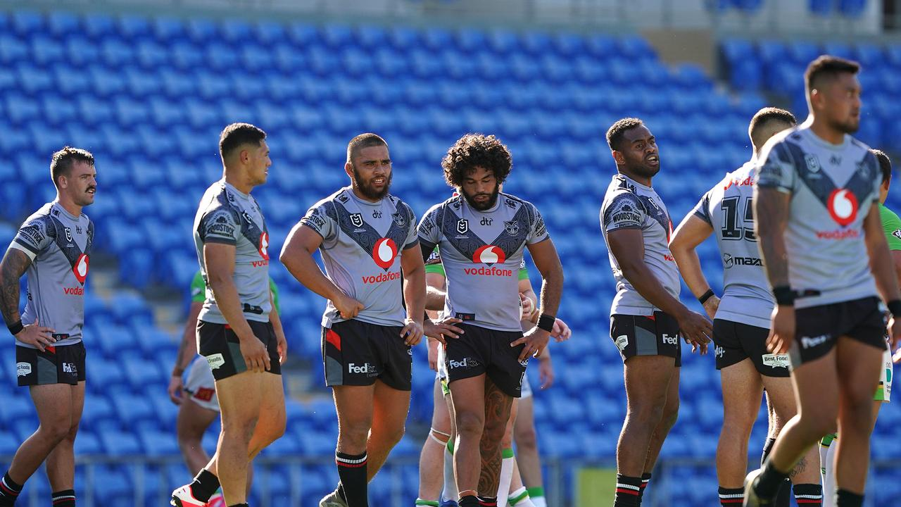 Warriors players look on following a Raiders try during their Round 2 NRL match at Cbus Super Stadium on the Gold Coast. Picture: Dave Hunt/AAP