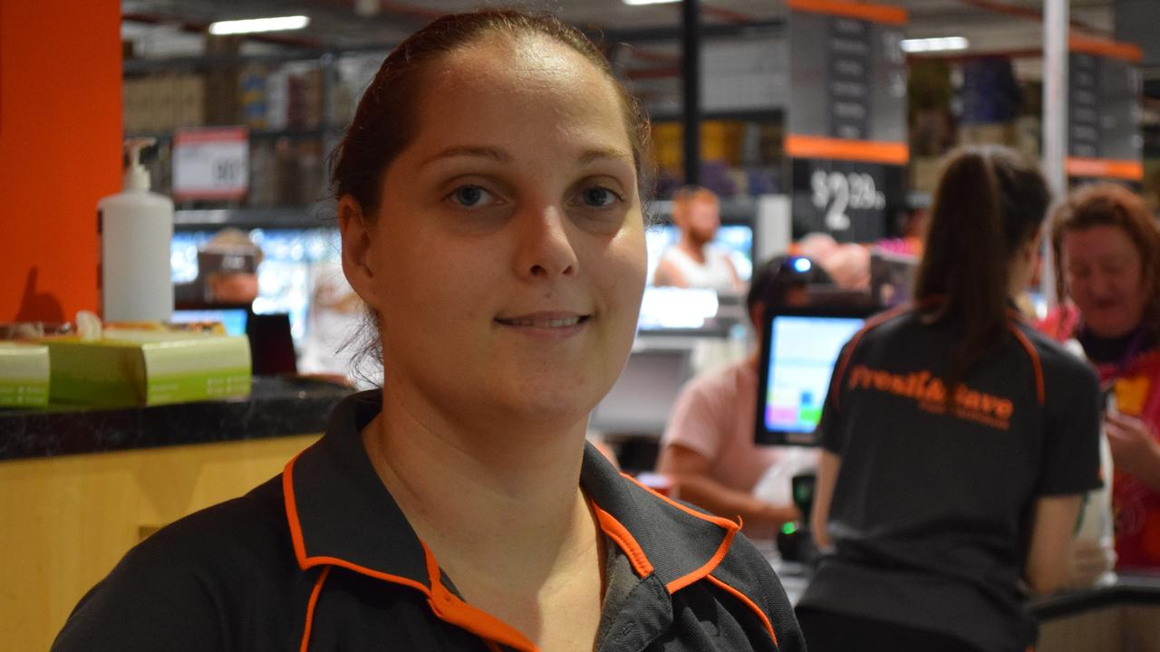 Store Manager of Fresh and Save Maryborough, Cherie Stone-Watson during a busy Monday morning. Photo: Stuart Fast