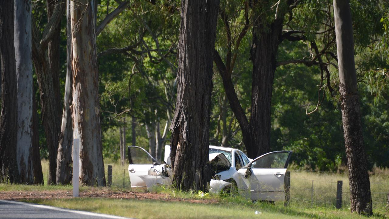 At the scene of the double fatality on the Bunya Highway near Murgon on Sunday afternoon.