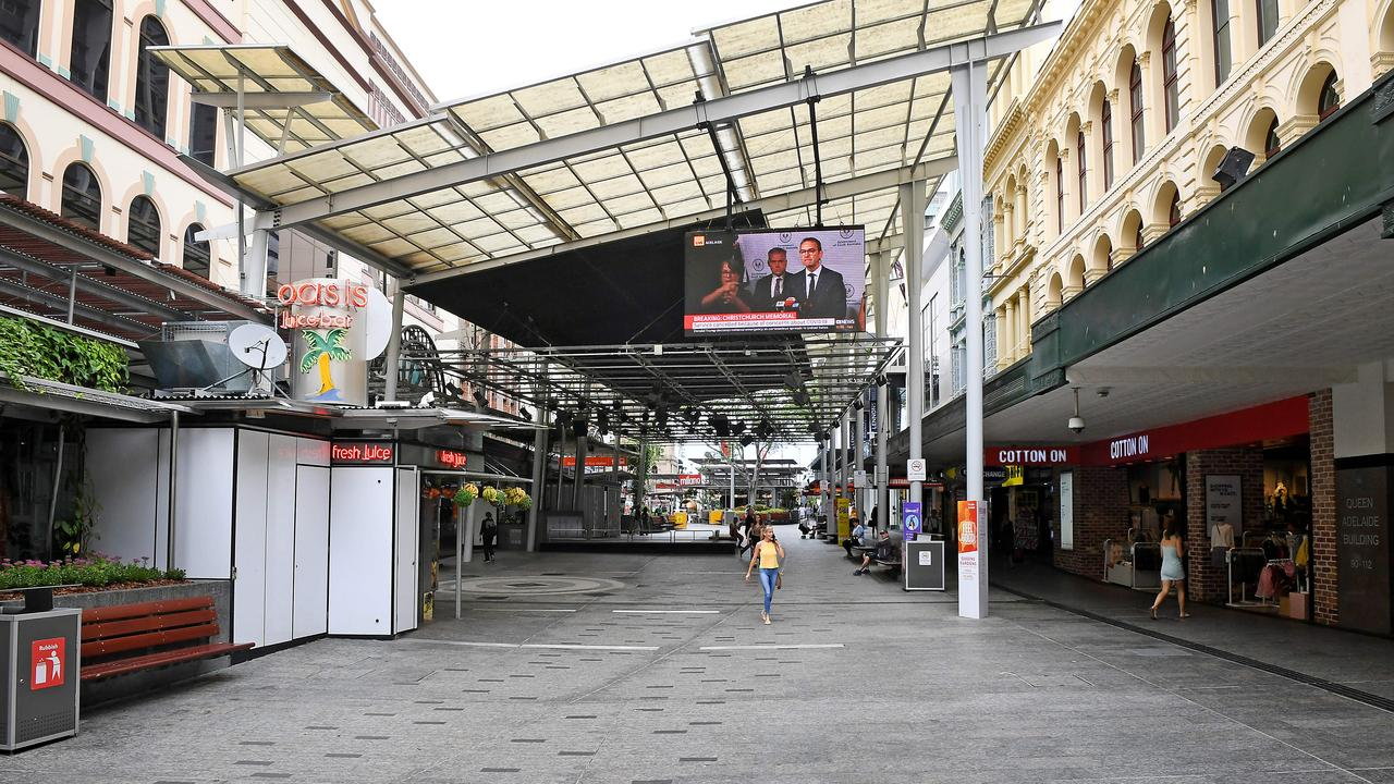 Queen street mall is looking quiet in Brisbane CBD. Picture: John Gass/AAP