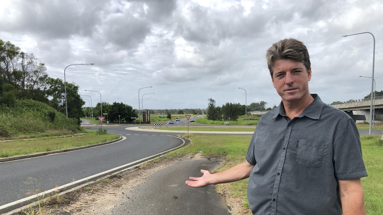 Ballina Councillor Jeff Johnson at the Cumbalum interchange on Monday. He says there is plenty of room to construct a southbound on-ramp beside the current off-ramp. Picture: Rebecca Fist