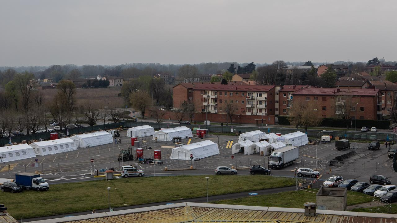 Italy has had to set up emergency hospital setups in fields. Picture: Emanuele Cremaschi/Getty Images