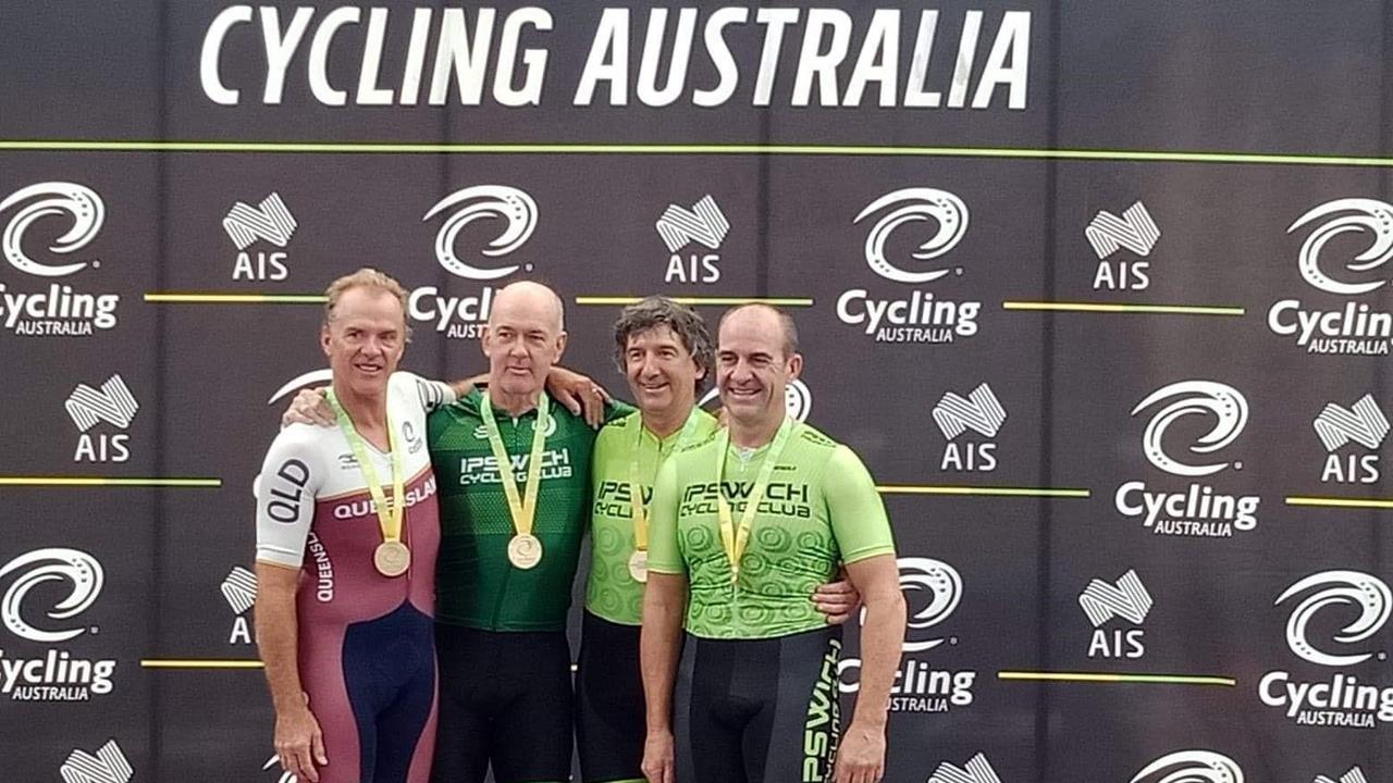 2020 National Masters Track Championship team pursuit gold medallists Robert Partington, John McEniery, Tony Simonelli and Phil Seibel. Picture: Ian Snodgrass