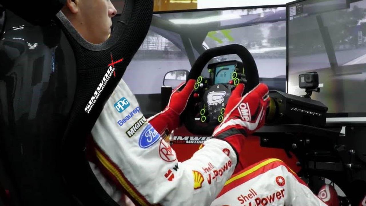 Supercars champion Scott McLaughlin in his simulator.