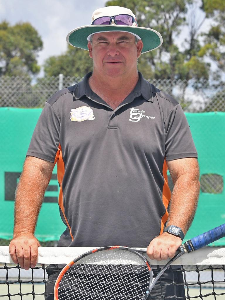 Gympie Tennis coach Brett Cottrill is still coaching at Reg English Memorial Tennis Centre.
