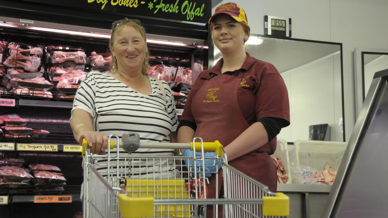 Patton's customer Jeanette Flight (left) with sales assistant Sarah Nichols.