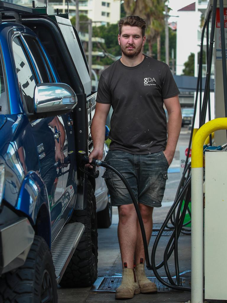 Apprentice carpenter Brandon Charlton fills up at BP Rushcutters Bay on Monday which was the state's most expensive. Picture: Justin Lloyd