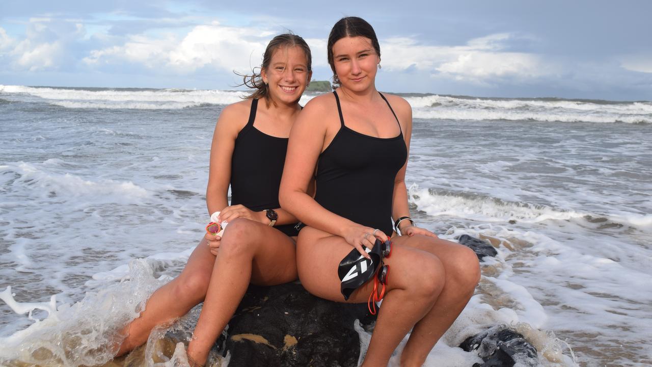 SWIM: Layne and Dali Baldock are disappointed after the Mudjimba Island Charity Swim was postponed.