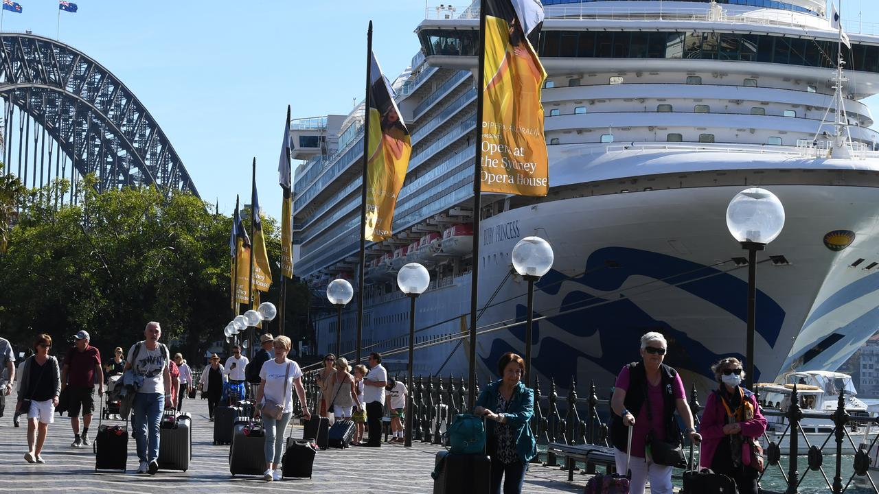 A woman who was on board the Ruby Princess cruise ship has died in hospital from COVID-19. Picture: AAP Image/Dean Lewins.