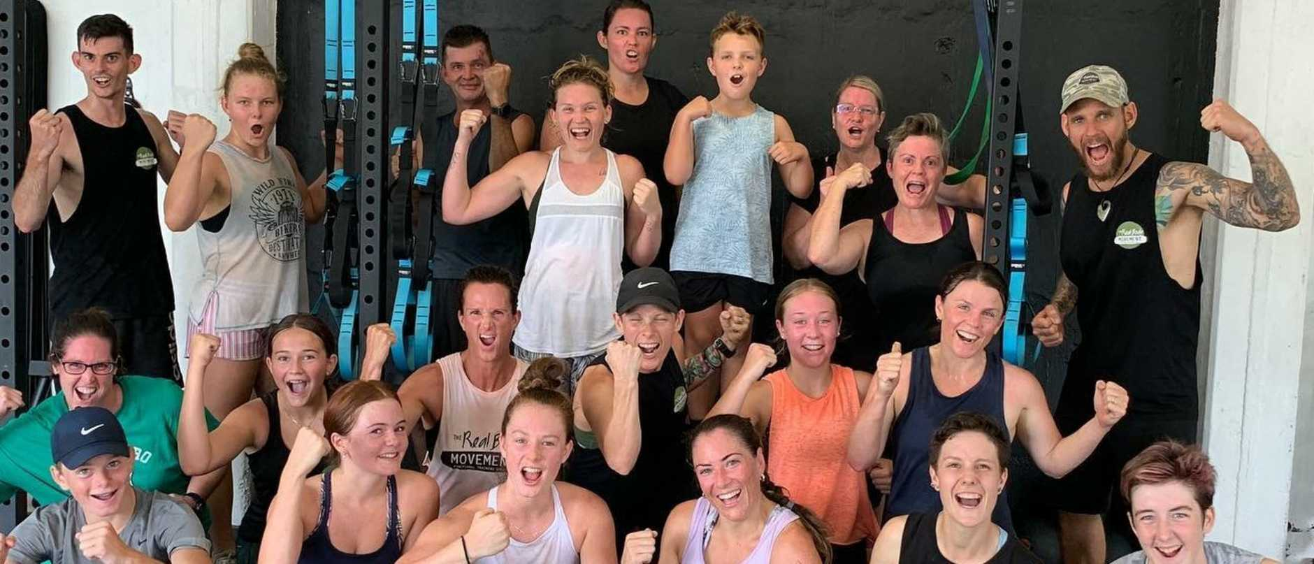 Gympie gym The Real Body Movement community has had to move to online classes after the gym was closed on Monday. BACK FROM LEFT: Harrison Parker, Mackenzie Keable, Tony Dotta, Kyl Schoenmakers, Cara Shrimpton, Jonah Frampton, Kylie Long, Wendy Frampton, Matt Keable MIDDLE FROM LEFT: Cassie Ledger, Mahalia Bower, Bec Duggan, Fiona Keable, Monique Webbe, Liz Cruikshank. FRONT FROM LEFT: Jimi Dugga