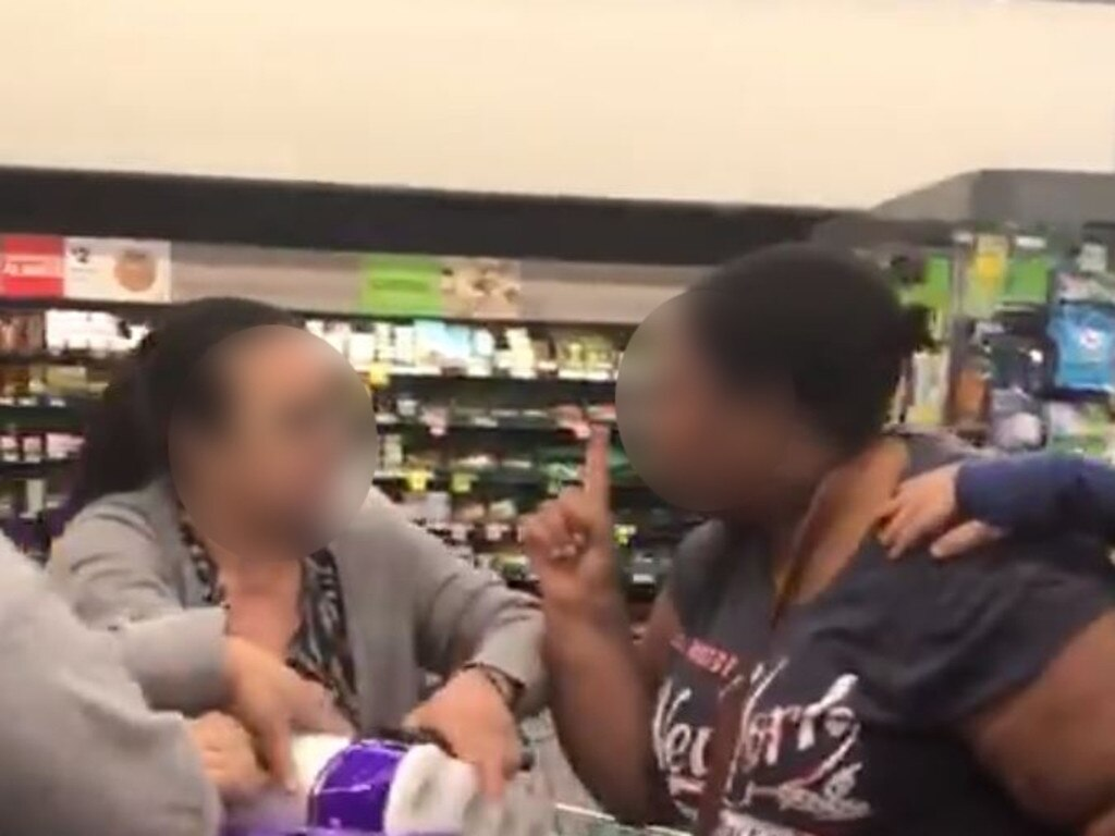 Shoppers fight over toilet rolls in Woolworths Chullora. Picture: Twitter