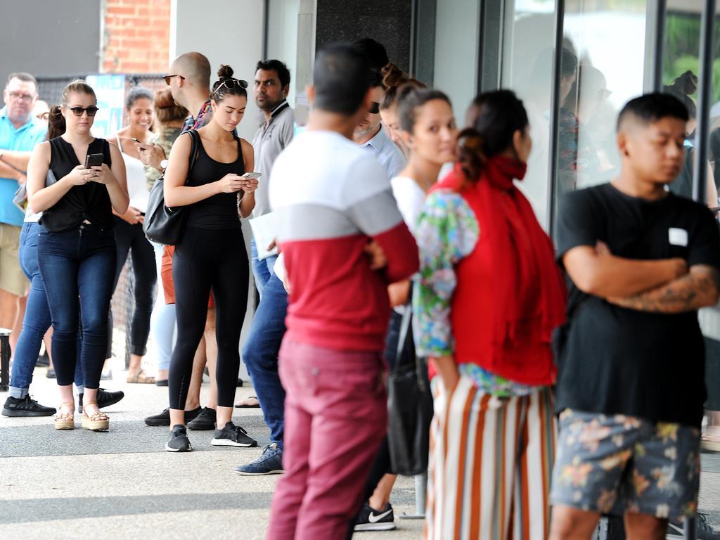 Jobseekers at Centrelink at Brisbane's Nundah yesterday. Picture: John Gass/AAP