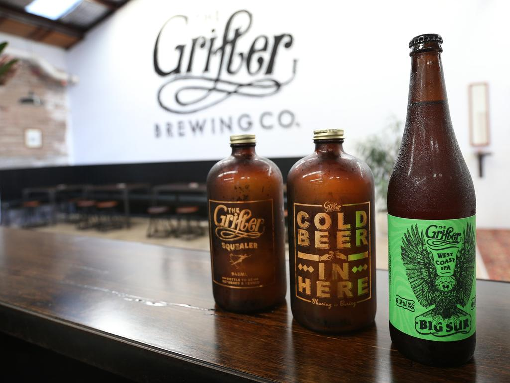 Pictured are a few of the beers brewed by the Grifter Brewing Co in Marrickville. Picture: Richard Dobson